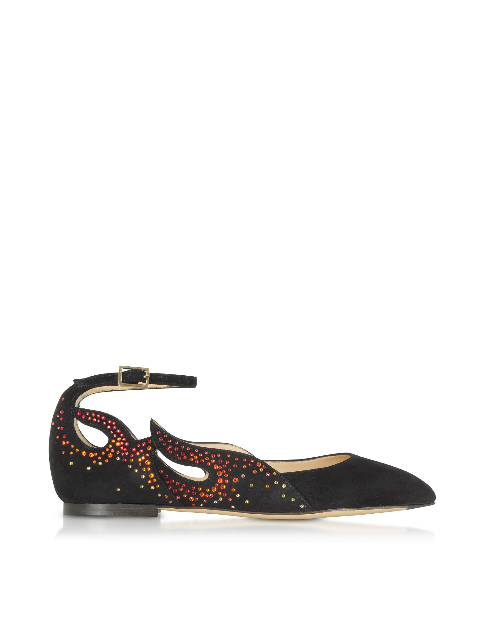 Charlotte Olympia Shoes, Feelin' Hot Hot Hot! Black Suede Ballerinas