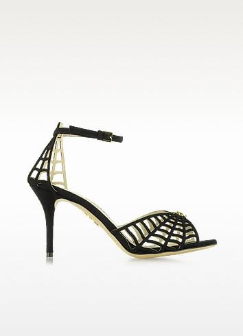 Spinderella Black Suede D'Orsay Sandal - Charlotte Olympia