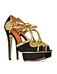 Black Suede and Antique Gold Metallic Leather Rattan Platform Sandal - Charlotte Olympia