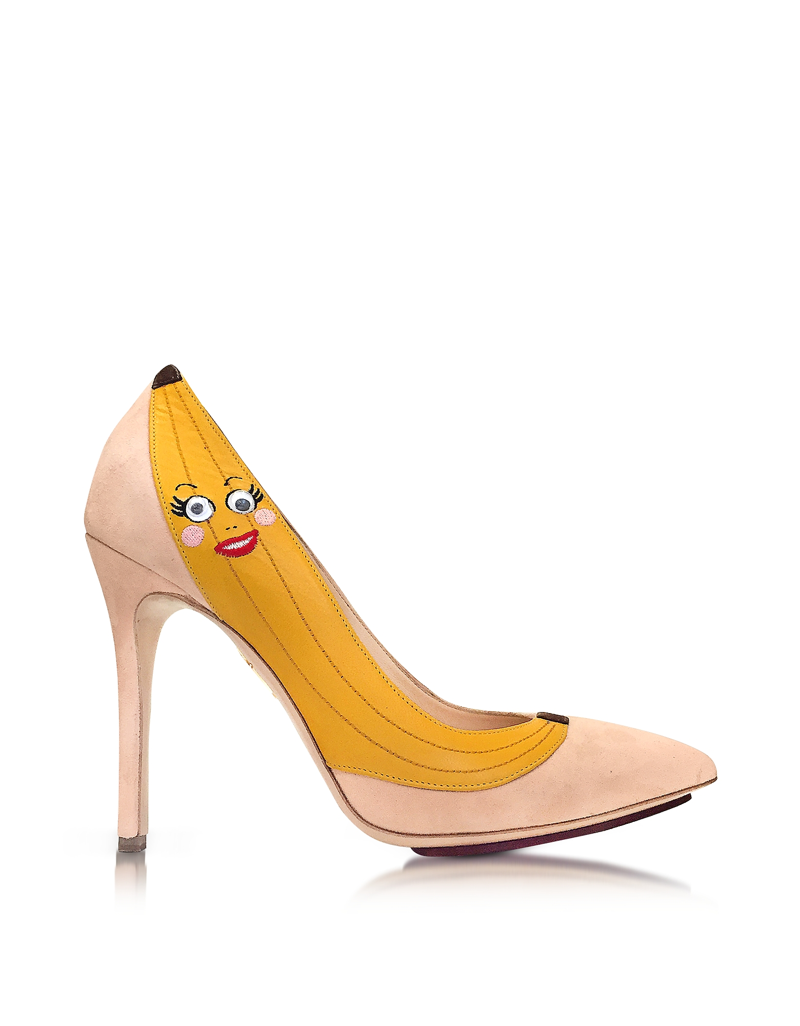 Charlotte Olympia Shoes, Chiquita Blush Suede Pump w/Banana Applique
