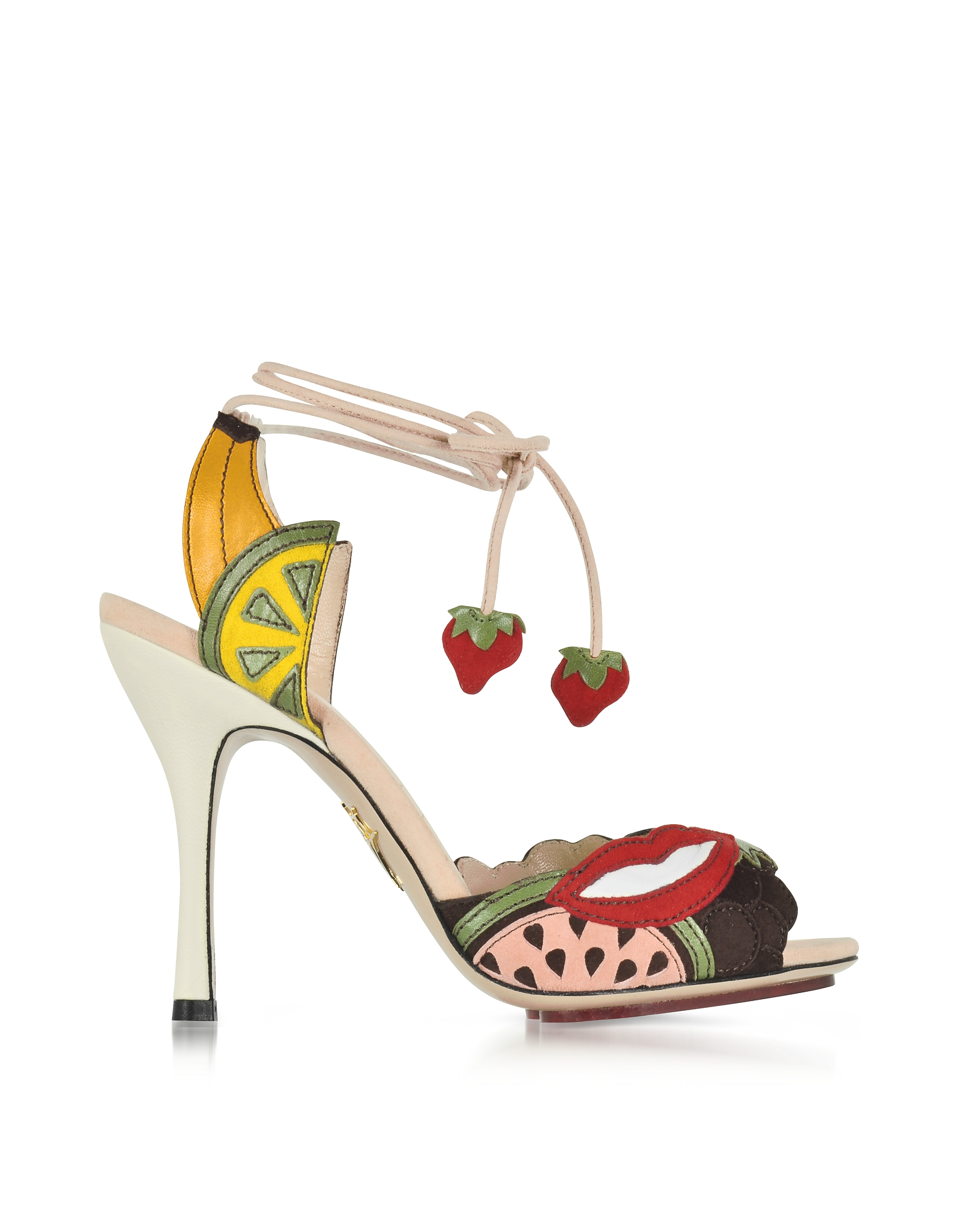 Charlotte Olympia Shoes, Fruit Salad Multicolor Suede Sandal