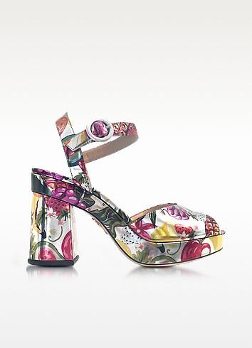 Charlotte Olympia Into The Wild Fruit Salad Print Metallic Leather Platform Sandals