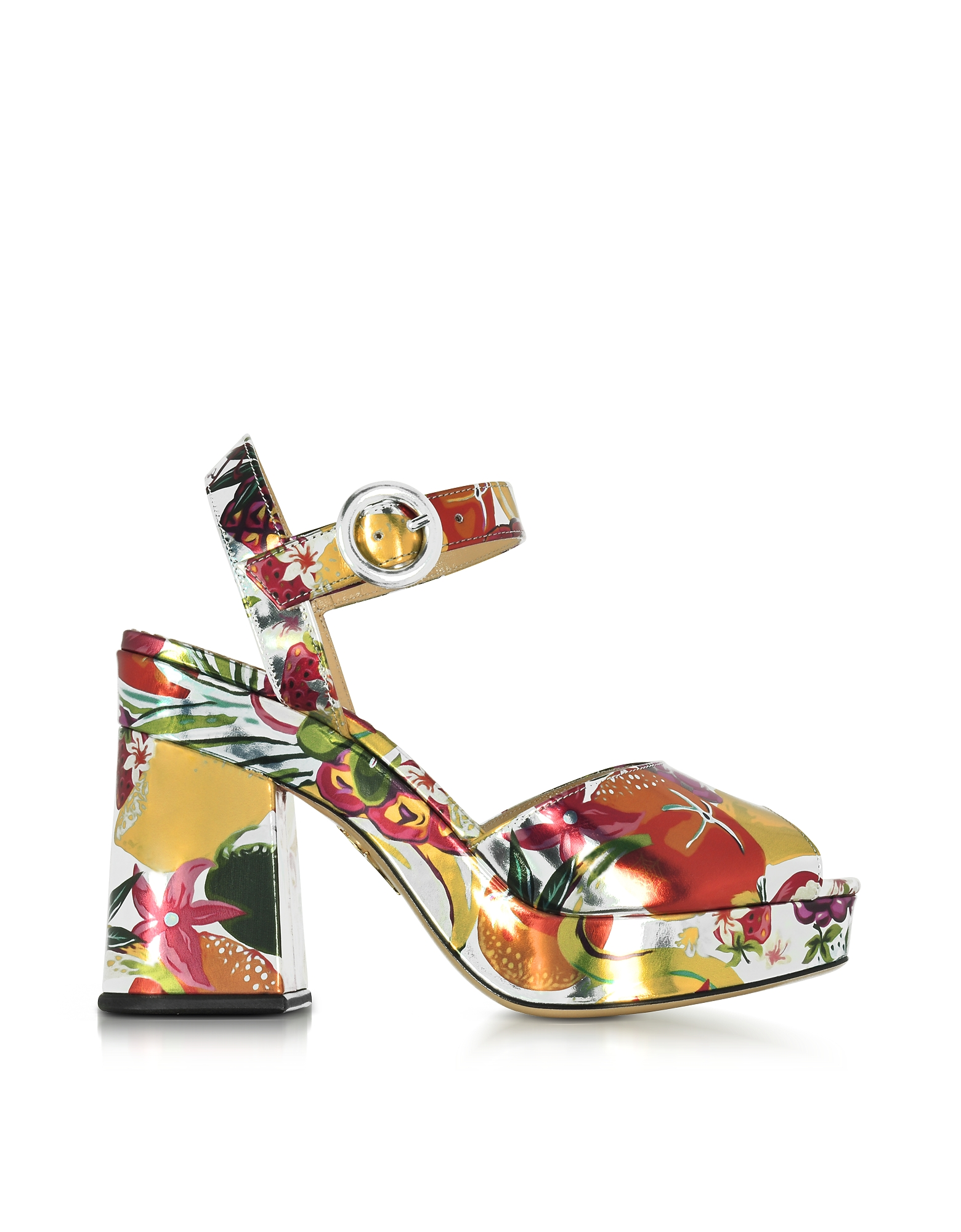 Charlotte Olympia Shoes, Into The Wild Fruit Salad Print Metallic Leather Platform Sandal