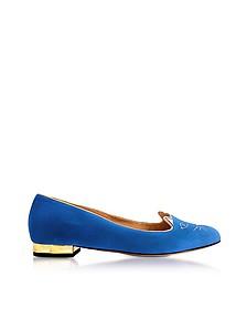 Dark Blue Velvet Kitty Flats - Charlotte Olympia