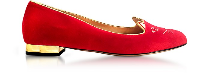 Red Velvet Kitty Flats - Charlotte Olympia