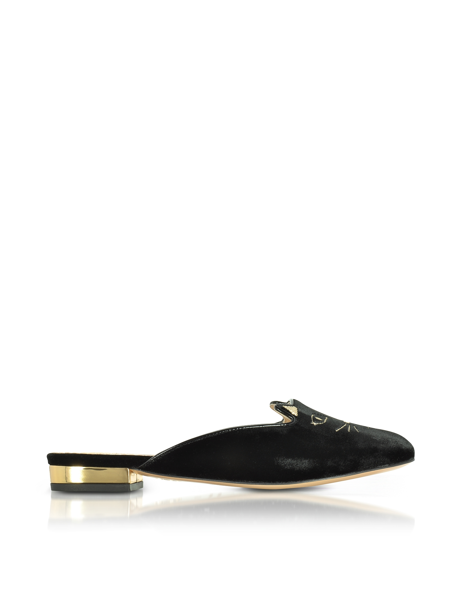 Charlotte Olympia Shoes, Black Velvet Kitty Slippers