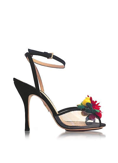 Tropicana Black Silk and PVC Sandal - Charlotte Olympia