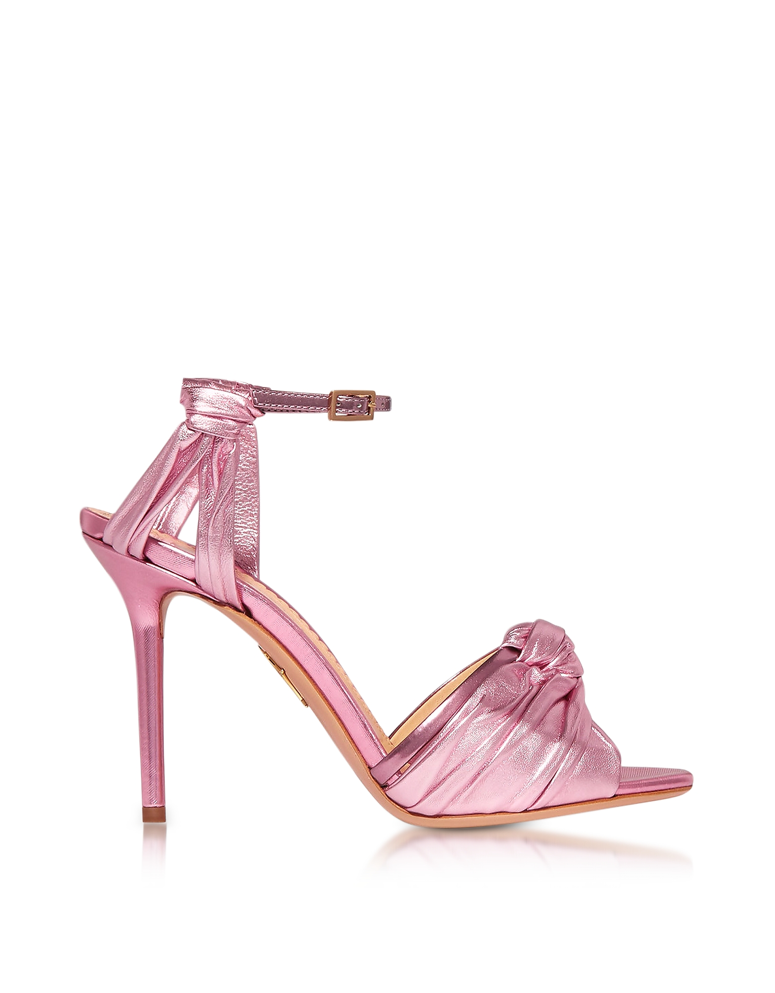 Charlotte Olympia Shoes, Broadway Party Pink Metallic Nappa Sandal