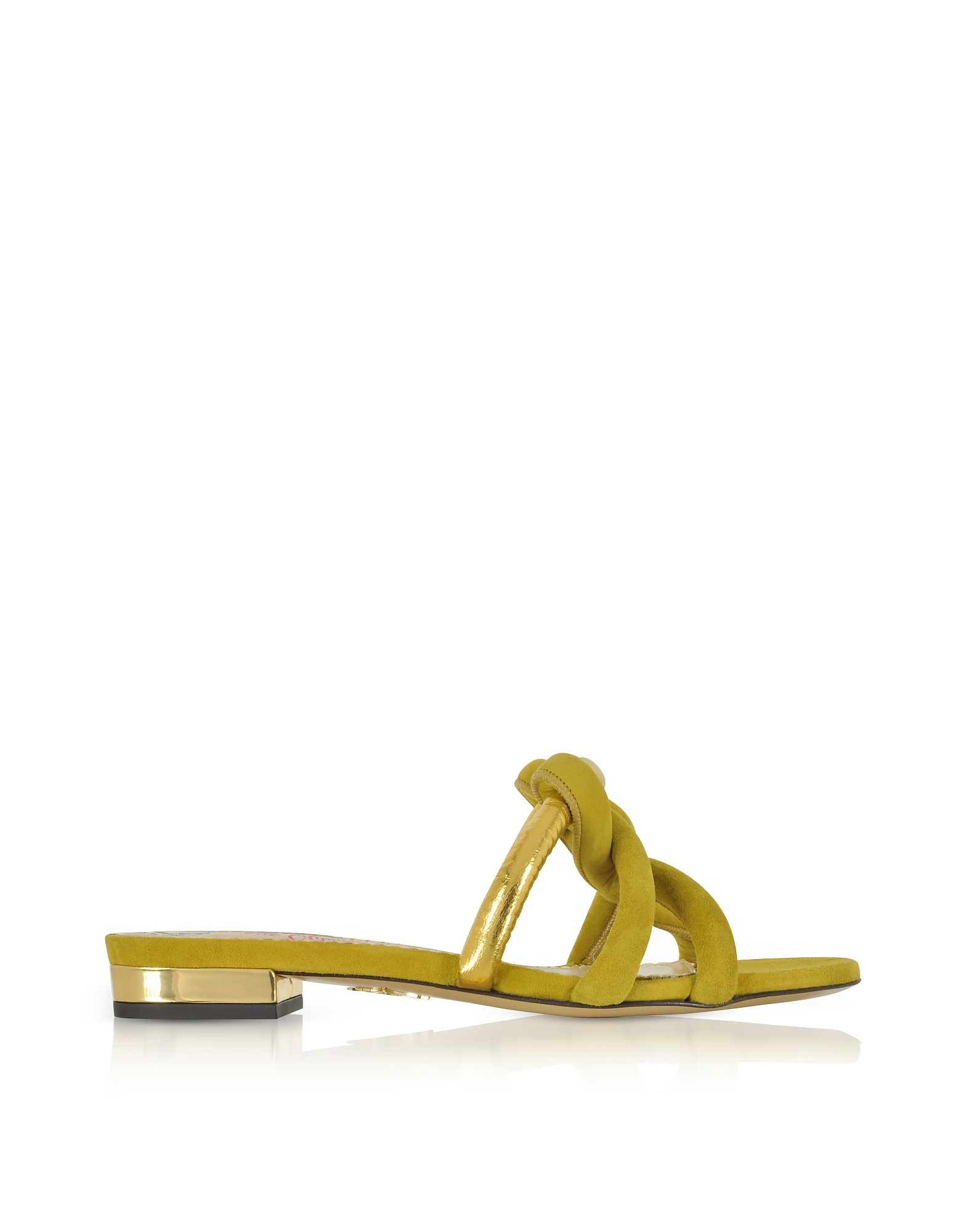 Charlotte Olympia Shoes, Thalia Olive Green Suede and Gold Metallic Leather Slide Sandals