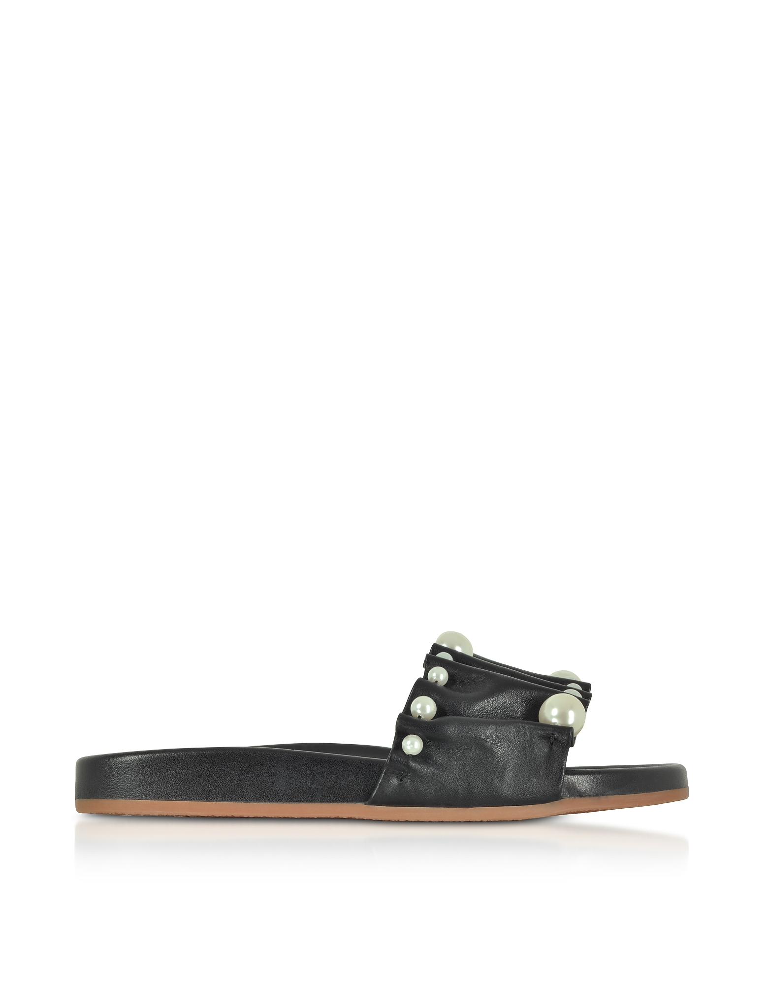Image of Charlotte Olympia Designer Shoes, Black Pleated Nappa Leather Slide Sandals w/Pearls