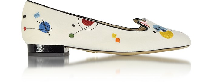 Abstract Kitty Loafer-Halbschuh aus Samt und Lackleder - Charlotte Olympia