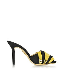Chrysie Black and Gold Suede and Metallic Leather Slide - Charlotte Olympia