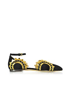 Machine Age Black Suede and Gold Metalic Leather Flats - Charlotte Olympia