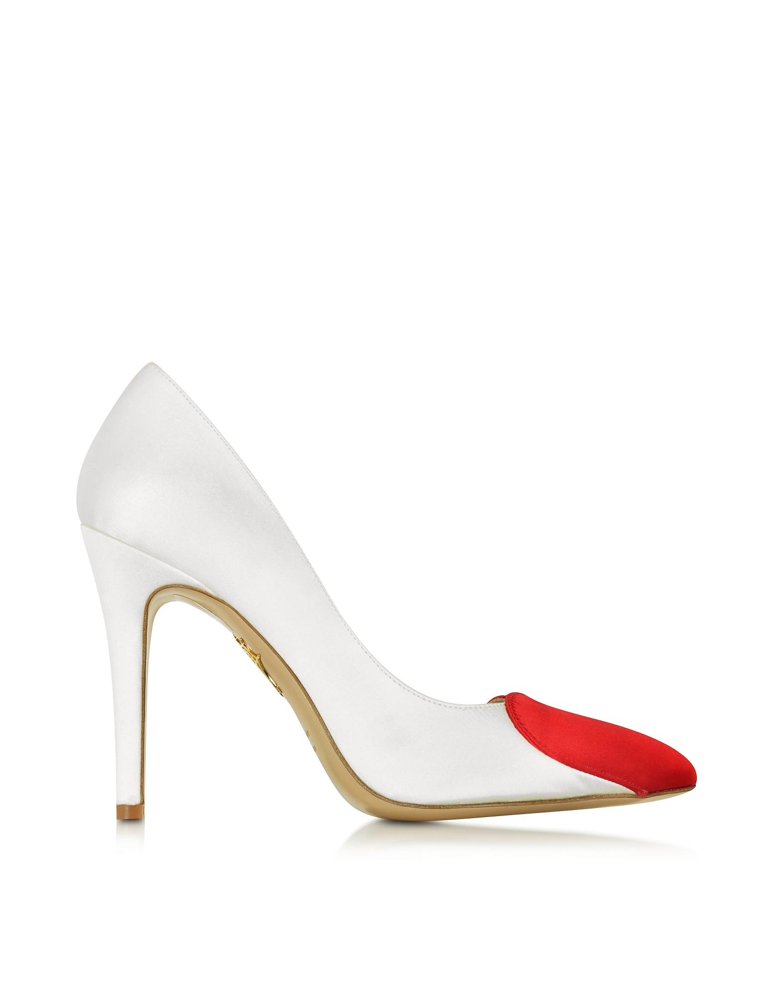 Bethany - Белые и Красные Атласные Туфли-Лодочки