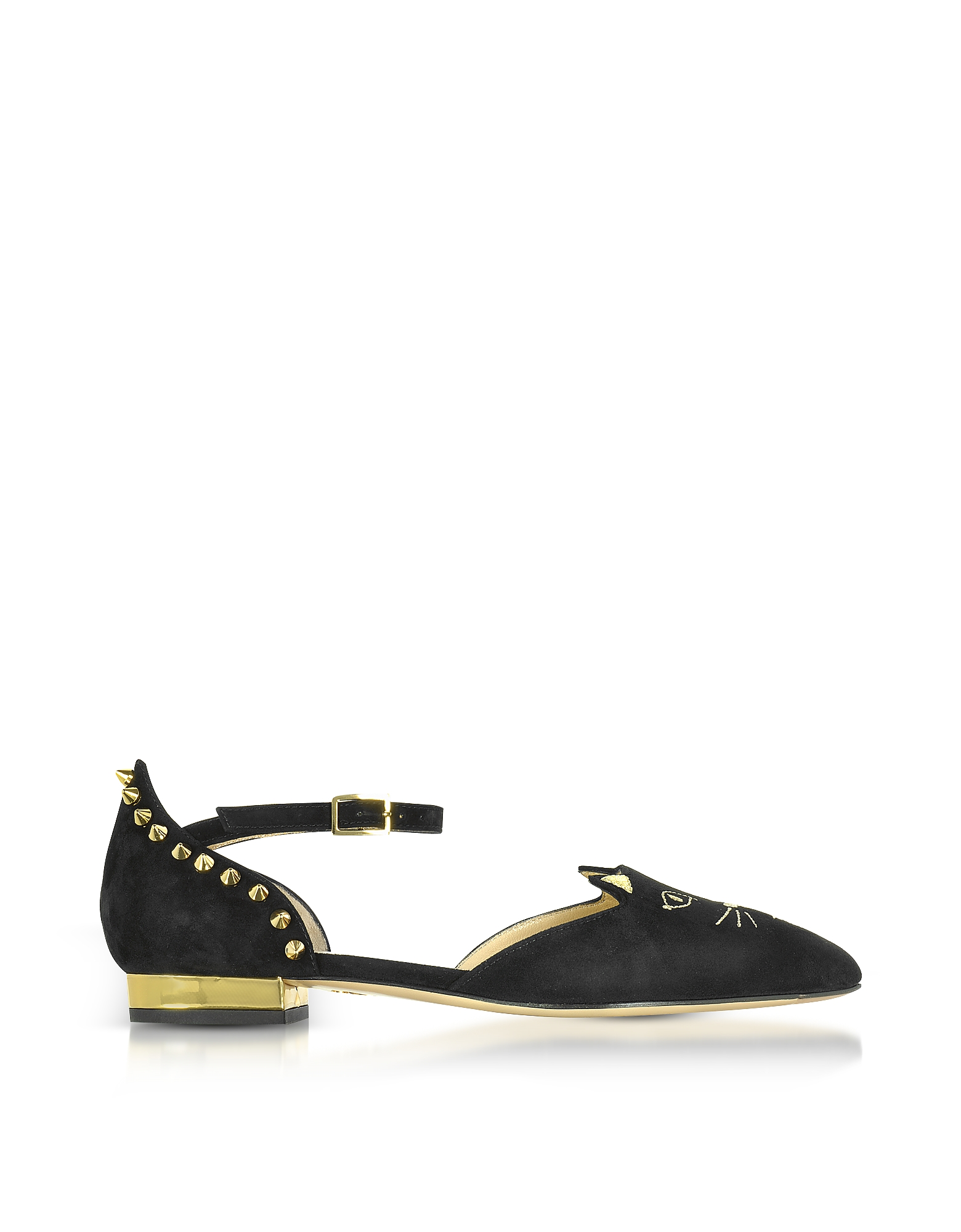 Charlotte Olympia Shoes, Mid-Century Black Suede Kitty D'Orsay Flats