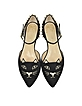 Mid-Century Black Suede Kitty D'Orsay Flats  - Charlotte Olympia