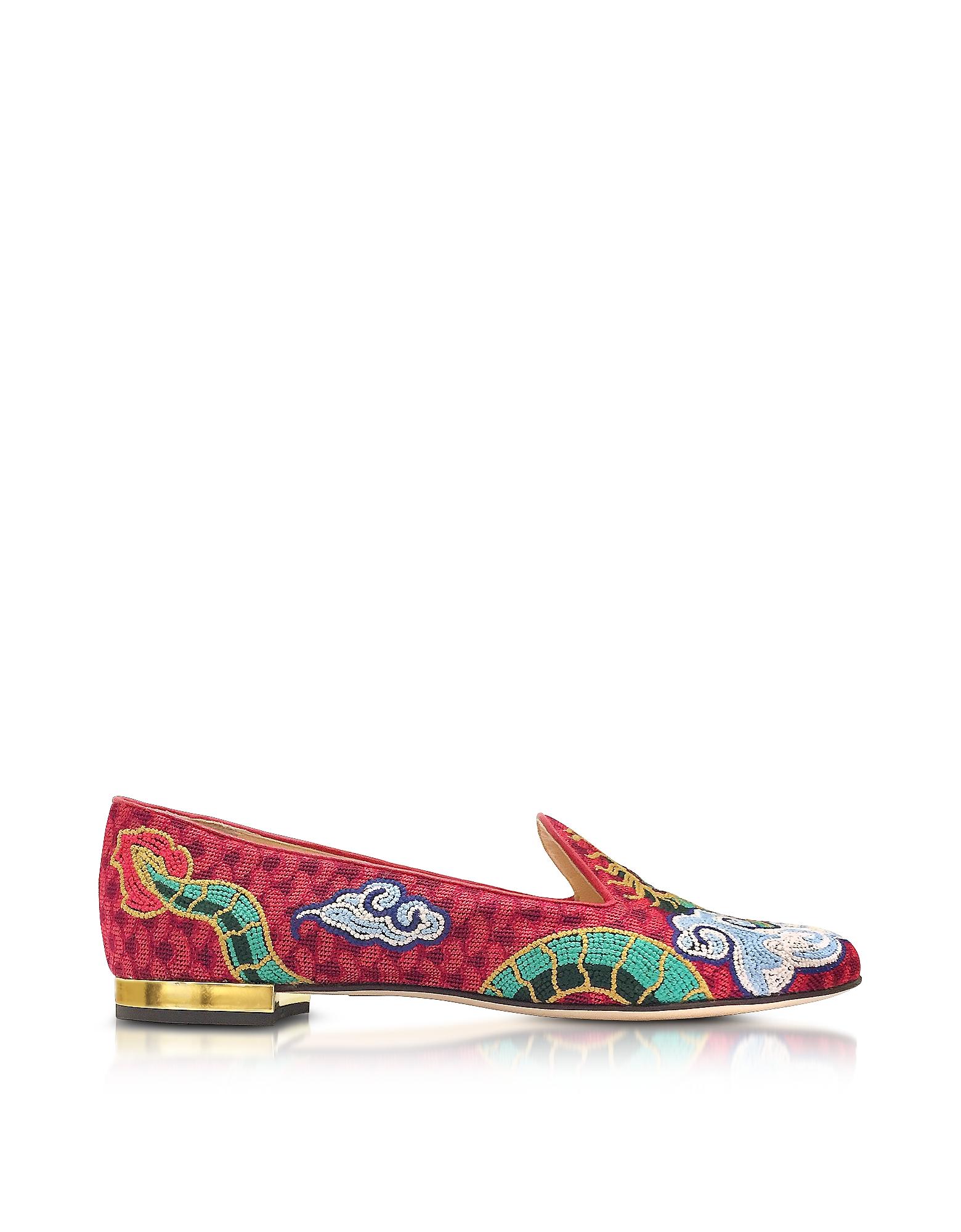 Фото Dragon - Разноцветные Вышитые Туфли Слиперы из Ткани. Купить с доставкой
