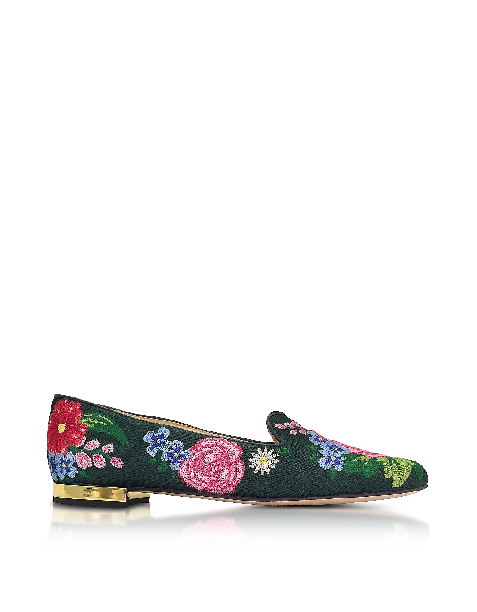 Charlotte Olympia Shoes, Rose Garden Multicolor Embroidered Canvas Slipper