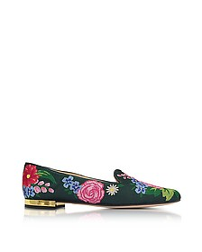 Rose Garden Multicolor Embroidered Canvas Slipper - Charlotte Olympia