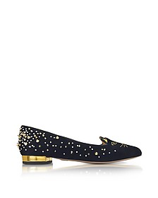 Black Suede Studded Kitty Flats - Charlotte Olympia