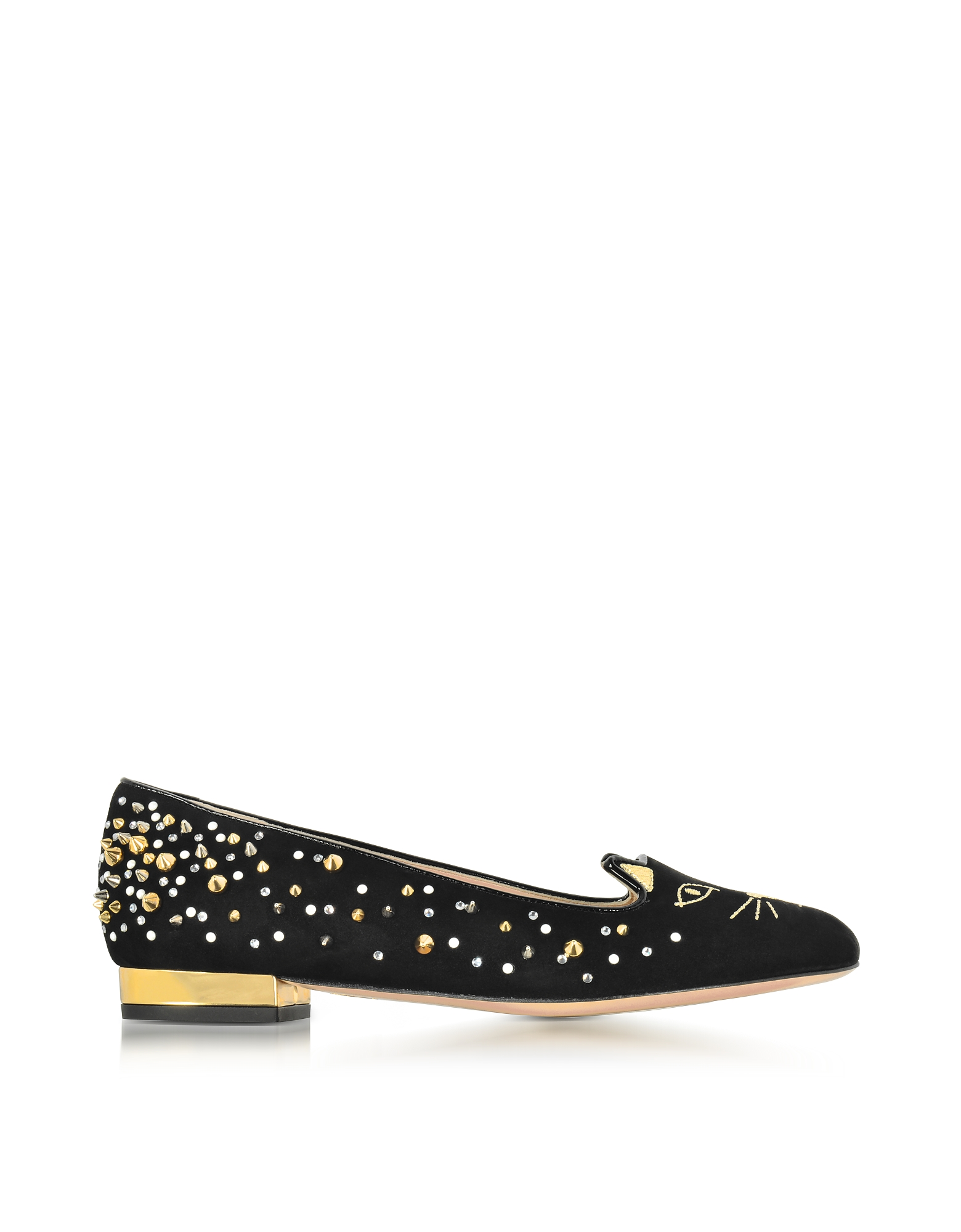 Charlotte Olympia Shoes, Black Suede Studded Kitty Flats