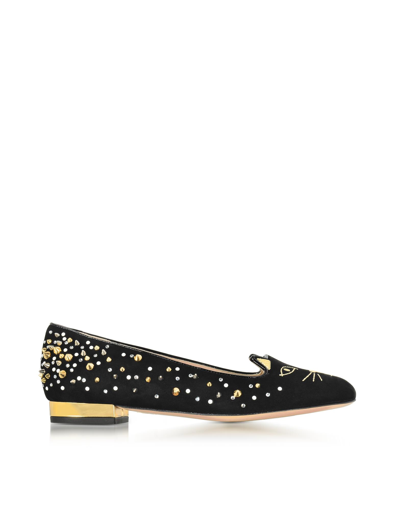 Фото Kitty - Черные Замшевые Туфли на Плоской Подошве с Заклепками. Купить с доставкой