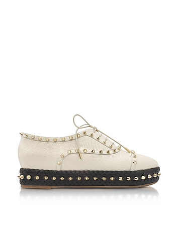 Charlotte Olympia - Hoxton Ivory Embossed Leather Platform Shoes