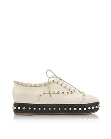Hoxton Ivory Embossed Leather Platform Shoes - Charlotte Olympia