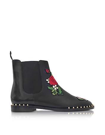 Charlotte Olympia - Chelsea Black Leather Floral Embroidery Ankle Boot
