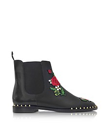 Chelsea Black Leather Floral Embroidery Ankle Boot - Charlotte Olympia