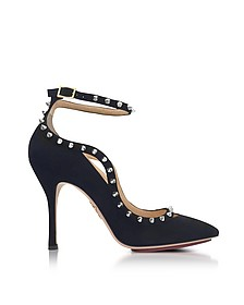 Pimlico Black Suede Ankle Strap Pump - Charlotte Olympia