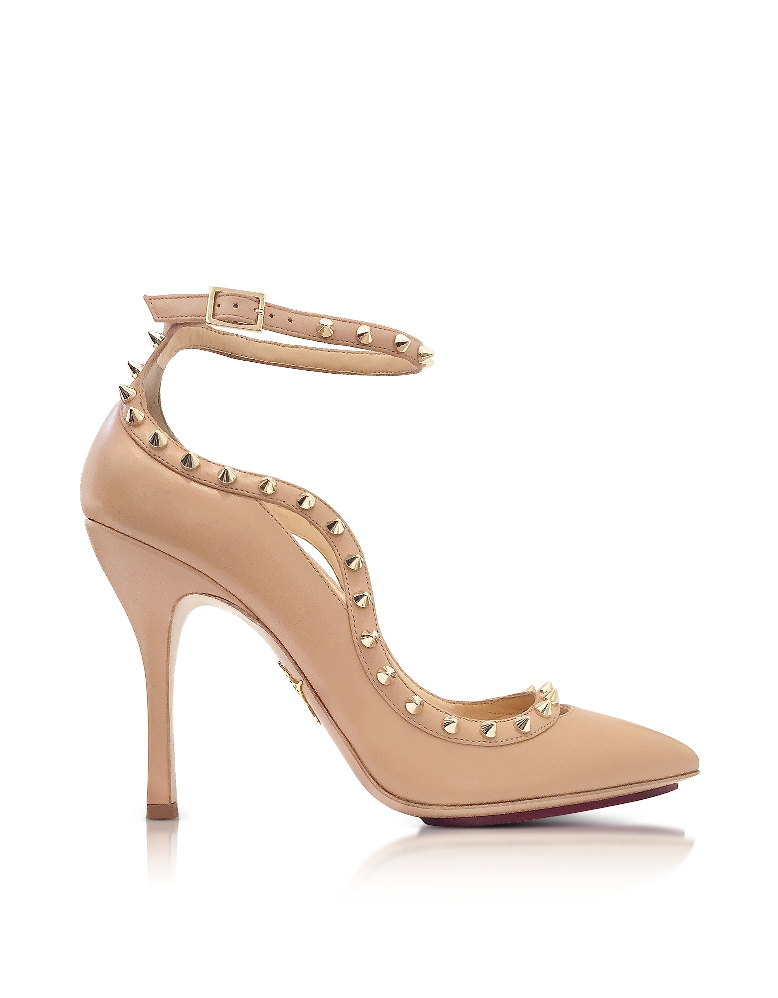 Charlotte Olympia Shoes, Pimlico Nude Leather Ankle Strap Pump