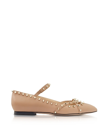 Charlotte Olympia - Kensington Nude Leather Flat