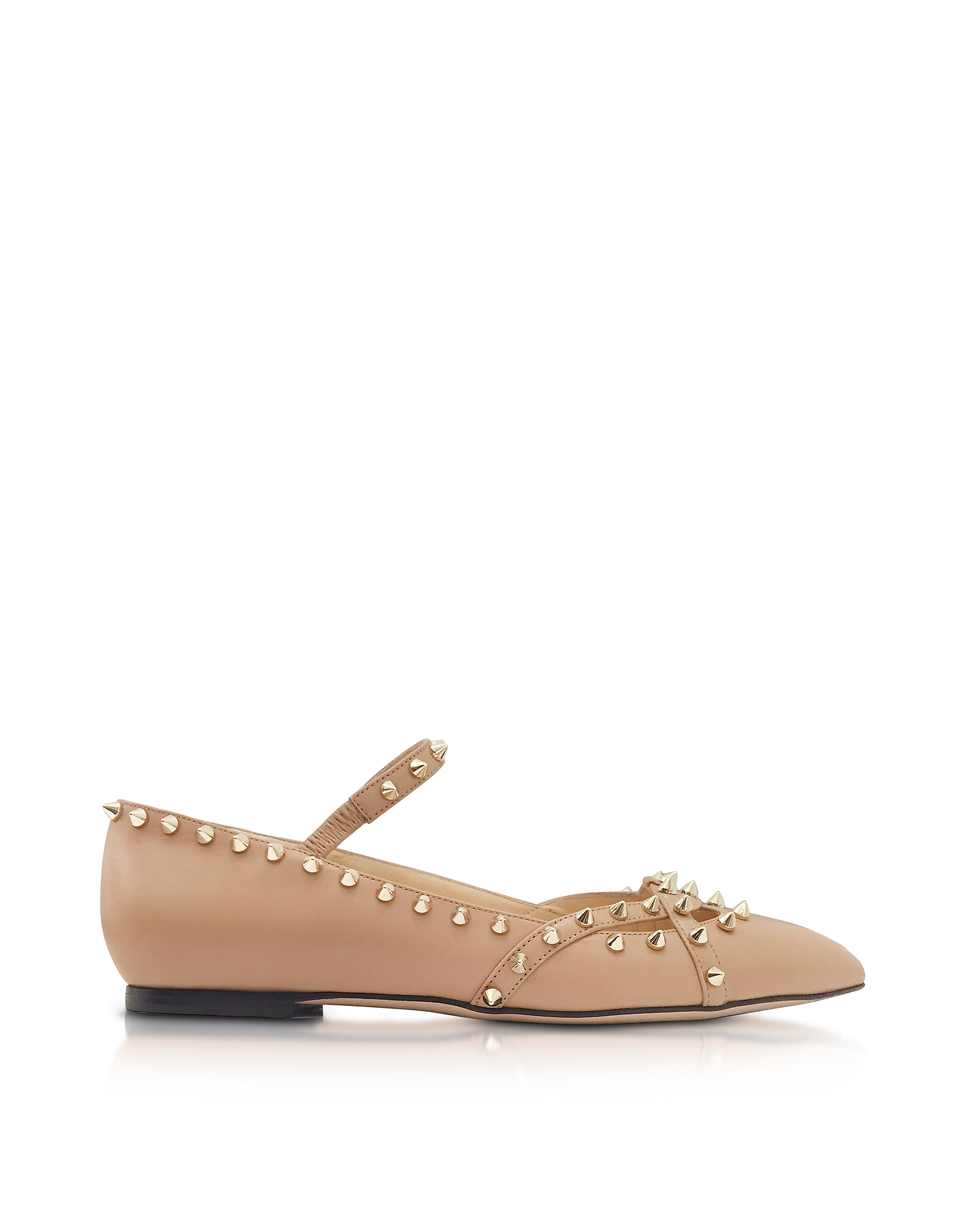 Charlotte Olympia Shoes, Kensington Nude Leather Flat