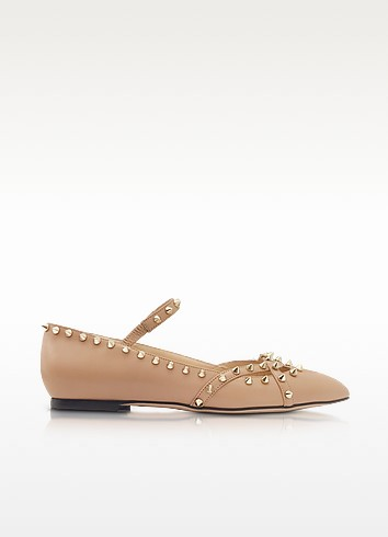 Kensington Nude Leather Flat - Charlotte Olympia