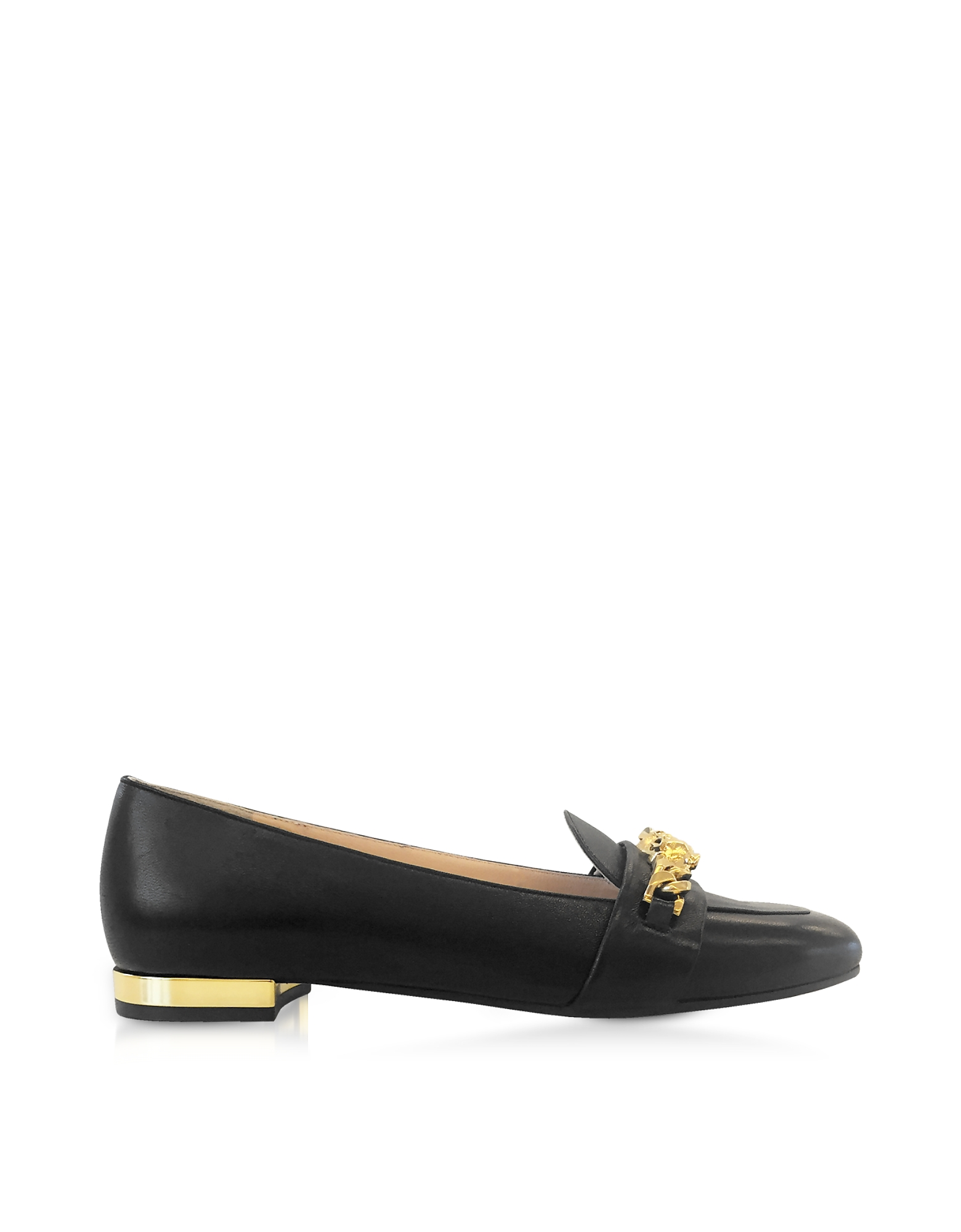 Charlotte Olympia Shoes, Black Leather Loafers