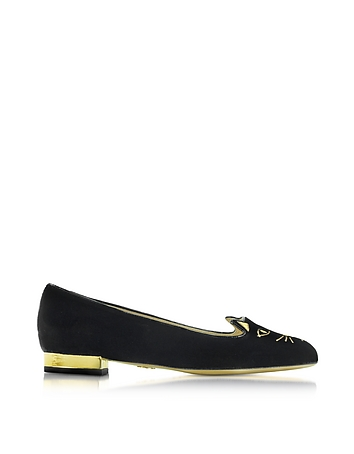 Black Velvet Kitty Flats