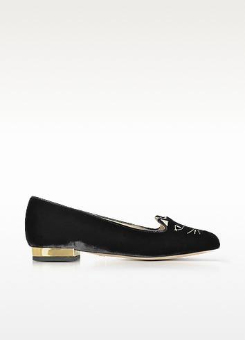 Black Velvet Kitty Flats - Charlotte Olympia