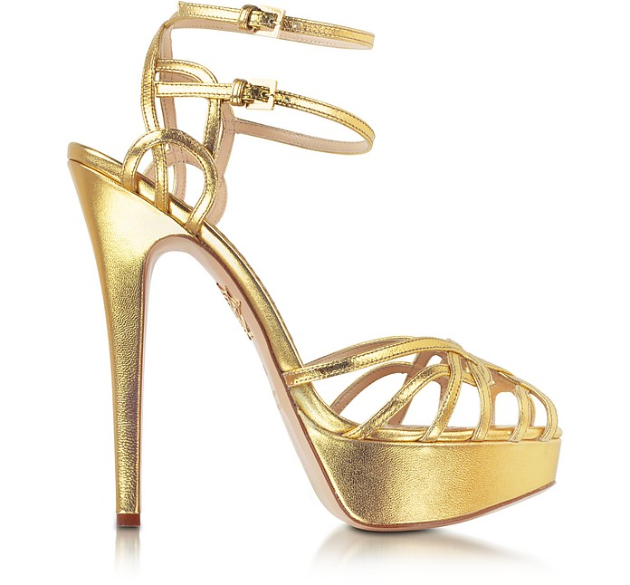 Ursula Gold Metallic Platform Sandal - Charlotte Olympia
