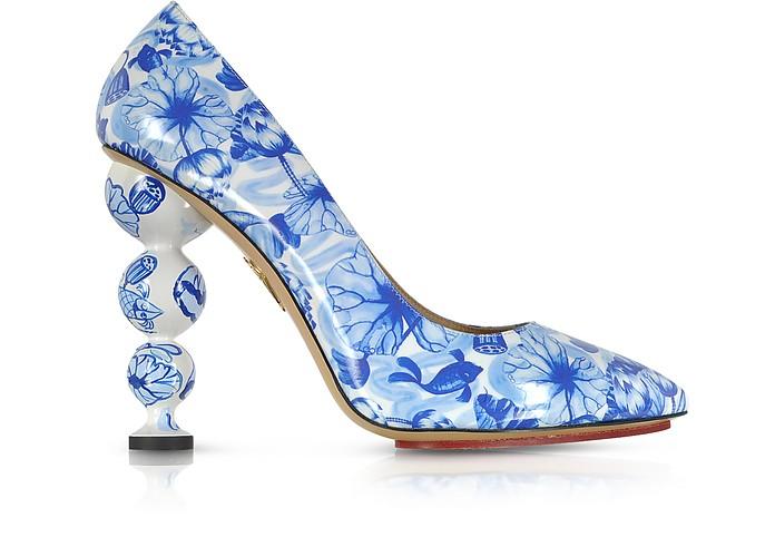 Ming Blue Koi Print Patent Leather Court Pump - Charlotte Olympia