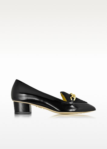 Francis Black Leather Shoe w/Chain Detail - Charlotte Olympia