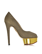 Charlotte Olympia Daphne Décolleté Open Toe in Suede Taupe con Plateau - charlotte olympia - it.forzieri.com