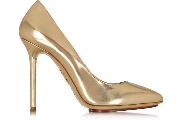 Monroe Rose Gold Metallic Leather Pump - Charlotte Olympia