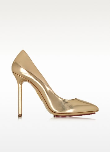 Monroe Rose Gold Metallic Leather Pump - Charlotte Olympia
