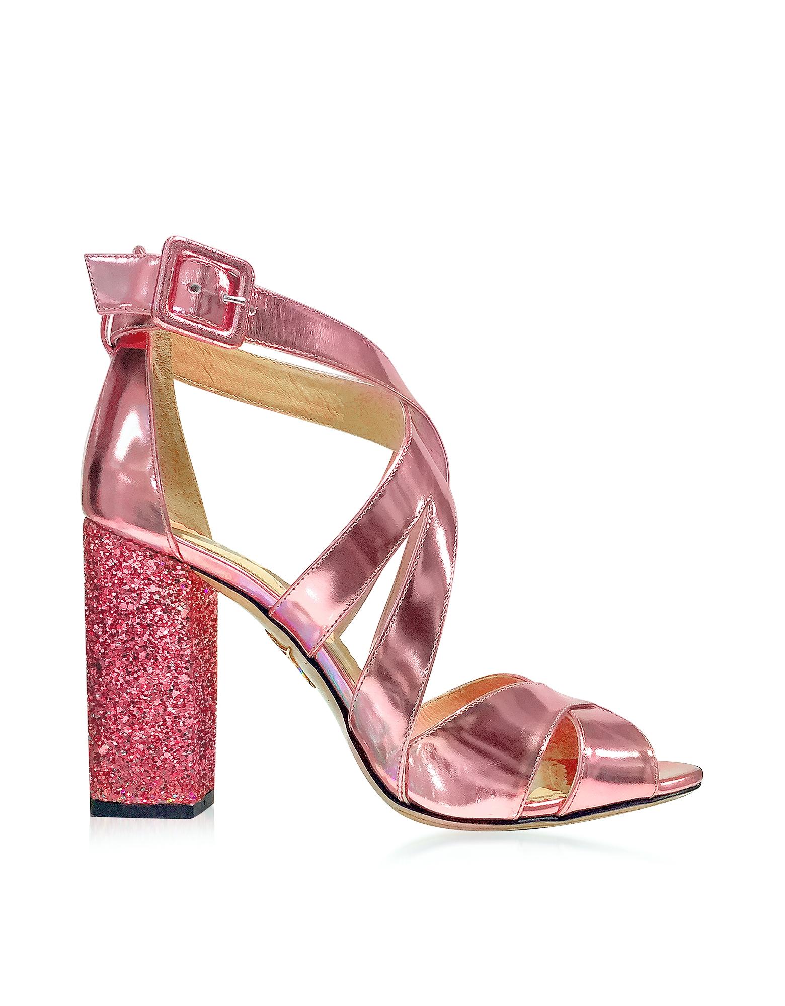 Apollo - Сандалии из Кожи Металлик Оттенка Розовый Кварц с Блестками