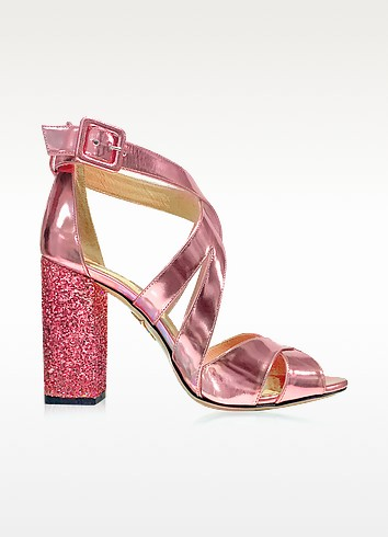 Apollo Rose Quartz Metallic Leather and Glitter Sandal - Charlotte Olympia