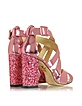 Apollo 玫瑰石英金属皮革和闪粉凉鞋 - Charlotte Olympia