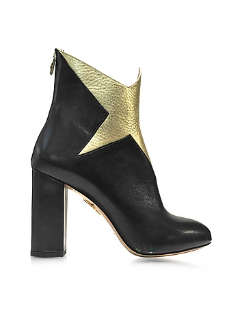 Galactica Black Nappa and Gold Textured Leather Ankle Boot