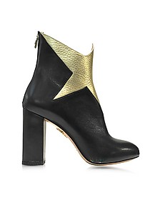 Galactica Black Nappa and Gold Textured Leather Ankle Boot - Charlotte Olympia