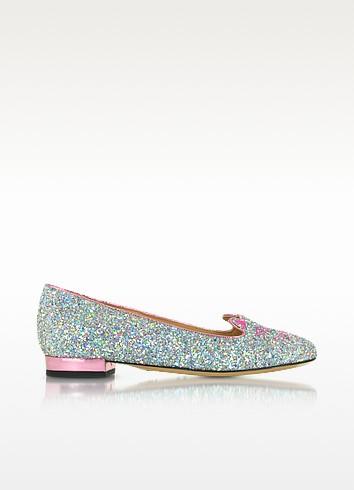 Kitty Fantasy Silver Glitter and Rose Quartz Metallic Leather Flats - Charlotte Olympia
